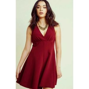 ModCloth dark red wine fit and flare dress